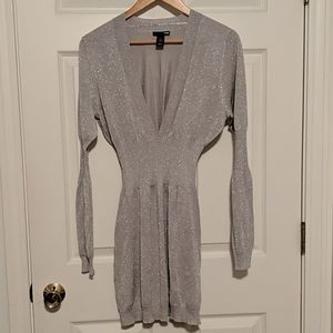 Sparkly silver long sleeve sweater dress